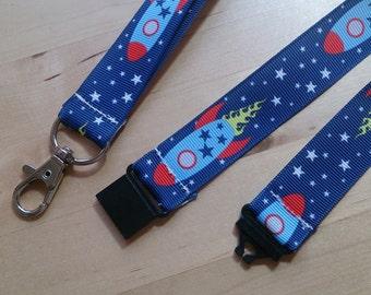 Space Rockets Ribbon Lanyard / ID Badge Holder