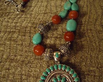 Boho Native Inspired Turquoise Story Necklace
