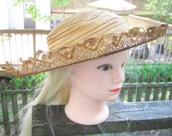 RESERVED....Gardener's Straw Hat By Austelle, Straw Lace Trim, Large Brim, Gardening Accessory, Sun Hat