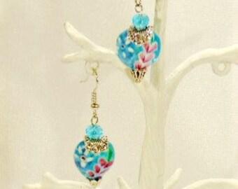 Blue Heart Lampwork Glass Earrings