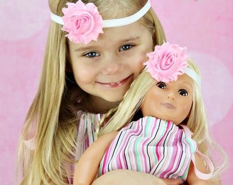 "Doll & Me - Pink White Headband Set - Baby Girl Child 18"" Dolly Matching Set Dollie"