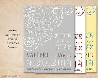 Nouveau Flourish - Wedding Save the Date Design - 4x5 Postcard - Vintage Antique Art Nouveau - Grey Gray Ivory, Red White, Light Yellow Blue