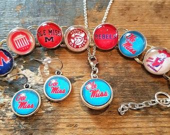 University of Mississippi Handmade Link Charm Bracelet Ole Miss College Football Fan