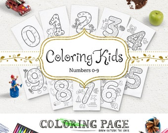 SALE Kids Printable Coloring Pages Numbers Printable Number Instant Download Digital Art Printable Coloring Page Kids Activity Printable Art