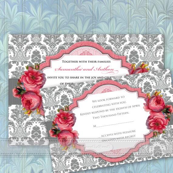 wedding invitations, Victorian wedding invitations, rose wedding invitations, rose bridal shower invitations, baby shower invitations, IN360