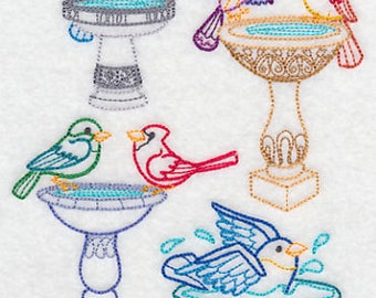Bathtime Birdies Embroidered Flour Sack Hand/Dish Towel