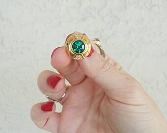RESERVED Nikki-Vintage Green Rhinestone Stud Pierced Earrings
