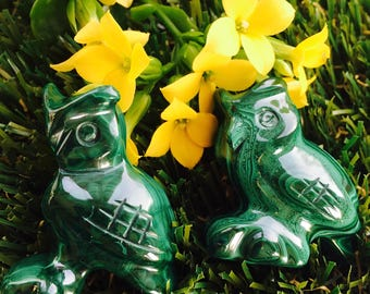 Malachite Handcrafted owl - Transformation, Emotions, Cleansing, Change, wisdom, knowledge, magic, omens, vision
