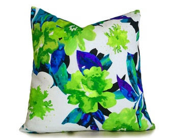 Green Blue  Pillow, Floral Pillow Covers, Coastal Pillow, Throw Pillow Covers, Watercolor Pillow,  Blue Green White Turquoise, 12x18, 18x18
