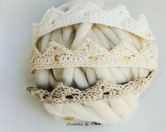 Crochet Baby Crown, Newborn Headband in Natural Pastels Cotton with Satin Ribbon of Your Choice, Newborn Photo Prop.