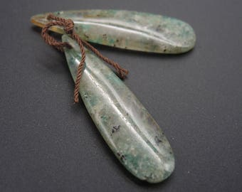 Love Enhancing~ Amazonite in Quartz Matched Teardrop Cabochon Cab Pair Drilled Matched Earrings Bead Pair Natural Stone