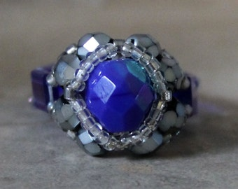 Czech Fire Polished Woven Ring in Cobalt and Silver