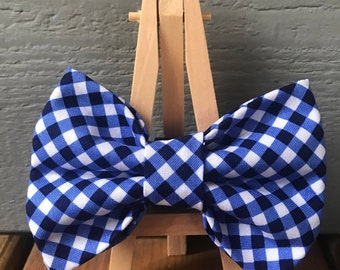 Blue cross check, dog bow tie