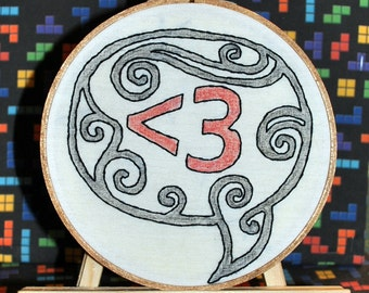 "Less Than Three 6"" Hooped Embroidery"