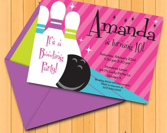 INSTANT DOWNLOAD, Bowling Birthday Girl, Pink Purple Turq, 5 x 7 Printable Invitation, You Edit Yourself in Adobe Reader