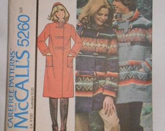 McCalls 5260,  Blanket Jacket, misses or mens, size:  ex small