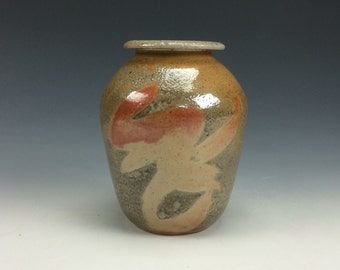 Shino Orange Tan Grey and Black Small Ceramic Vase, Modern Home Decor, Unique Rustic Vessel, Tiny Clay Bud Vase, Flower Vase