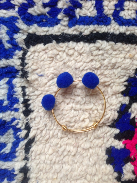 Gold Plated Blue Pom Pom Bracelet Bangle