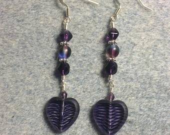 Dark purple striped Czech glass heart bead dangle earrings adorned with dark purple Czech glass beads.