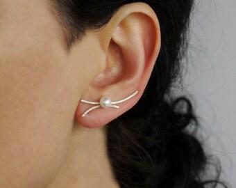 Silver ear climbers, gold ear climbers, silver ear crawlers, silver ear cuff, silver stud earrings, pearl earrings, silver earrings