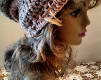 Beautiful Peach Hand Crocheted Slouchy Hat