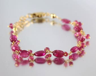 Pink Tourmaline Bracelet - Rubellite - Tourmaline Bracelet - Gold Fill