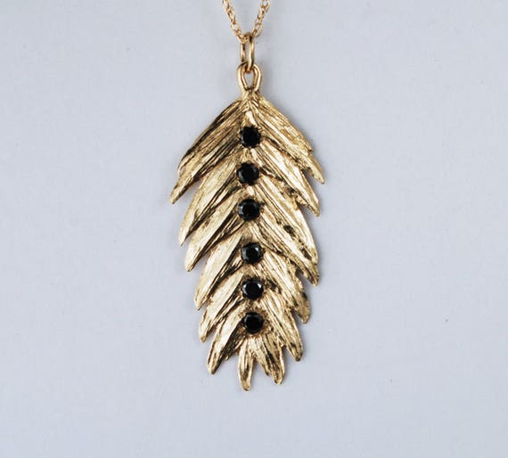 Solid Gold & Black Diamond Northern Sea Oat Necklace