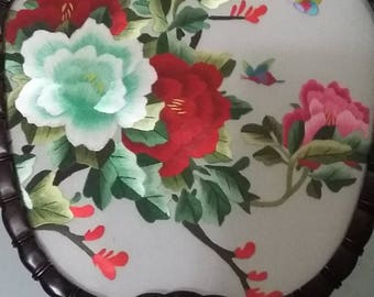 Vintage decorative embriodery Chinese handheld fan, Art Decor