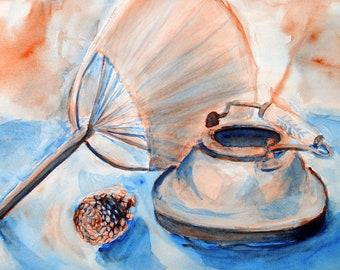 Duotone Still Life Watercolor Painting, Original Artwork, Orange and Blue Wall Art, Hand Fan, Pine Cone and Pot Fine Art