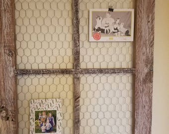 Repurposed wood  window with chicken wire
