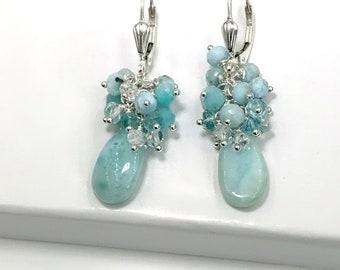 Larimar Earrings Gemstone Cluster Earrings Apatite Earrings Herkimer Diamond Cluster Earring Sterling Silver Mothers Day Gift for Her