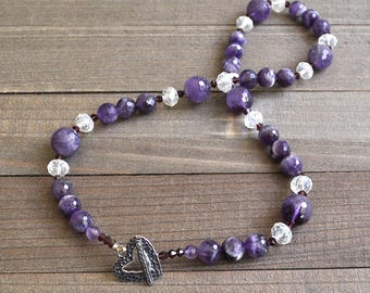 Amethyst Gemstone Necklace Purple Rain Gemstone Strand Artisan Hammered Heart Toggle Clasp