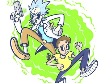 "Rick and Morty Illustration (6""x6"" Print)"