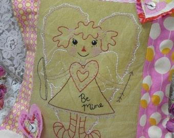 Retro Cupid embroidery Valentine PDF Pattern - stitchery Raggedy Ann doll Be Mine primitive heart decor posies embroidery