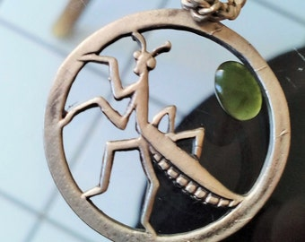 Praying Mantis  Shalolin Kung Fu  w/ Precious Gemstone in SOLID SILVER