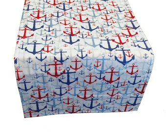 Nautical Table Runner, Red White and Blue Table Runner, Coastal Table Runner