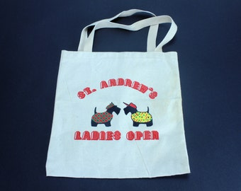 ST. ANDREWS Ladies Open Golf Bag Scottish Scotties Dogs in Sweaters Graphic Vintage Market Beach Canvas Shopping Tote Reusable