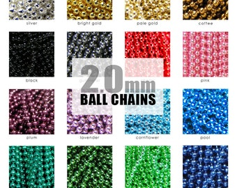 Mix and Match Ball Chains. 50 Pack 2.0mm Colored Ball Chains. Fits All Aanraku Bails. Choose Your Colors, Any Mix. Annie Howes.