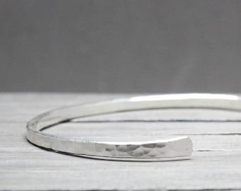Thin Silver Cuff, Skinny Silver Cuff, Hammered Silver Cuff, Silver Cuff Bracelet,  10g Hammered Cuff, Silver Bracelet, Hand Forged Bracelet