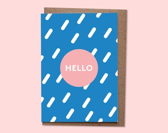 HELLO Greetings card + recycled envelope