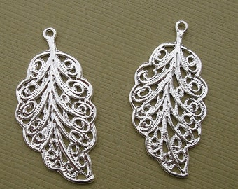 5pcs-Leaf Charm Pendant Connector Sterling Silver Plated.