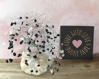 Rose Quartz Gem Tree, Black Jasper Gems, Gemstone Tree, Wire Tree, Gifts For Her