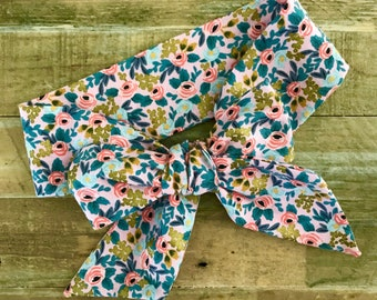 Rosa floral headband, mother/daughter headwrap, baby accessory, hair tie, hair accessory, turban, headwrap hair bow, rifle paper fabric