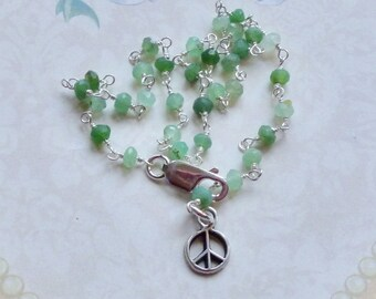 Peace Sign Ankle Bracelet - Chrysoprase Gemstone and Sterling Silver Rosary Chain Ankle Bracelet - Sterling Peace Sign Green Gemstone Anklet