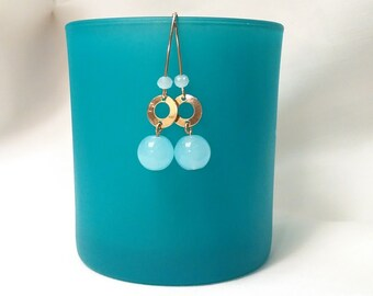 Gold Filled,Gold,Earrings,Hook,Jewelry,Gift for her,Gemstone,Turquoise Blue,Summer, Pendant,Modern,Blue Sponge Quartz