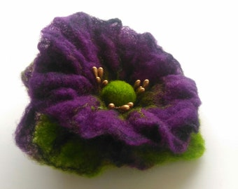 Purple Green Flower brooch, Felted brooch, Brooch pin and clip, Jewerly, Handmade, Unique, Hair Accessories