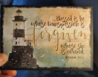 4 x lighthouse sea christian contemporary art print comfort encouragement forgiveness psalm 32 card christian bible verse kjv scripture