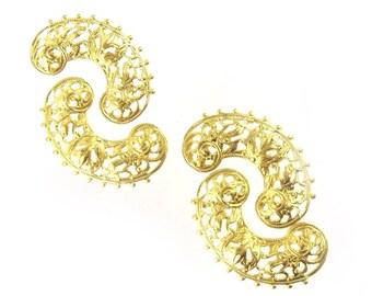 Filigree Curls, Gold, 10 pcs