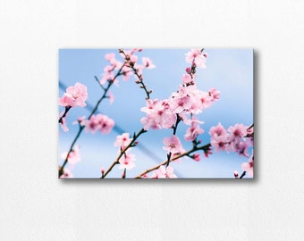 blossom canvas art flower photography canvas print 12x12 24x36 fine art photography floral canvas wrap blossom wall decor pastel blue pink