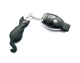 Cat Keyring Black Leather